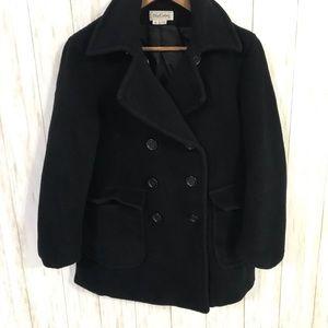 Oleg Cassini black 100% wool Peacoat Size 6